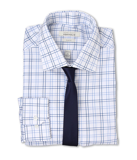 Perry Ellis - Slim Fit Check Shirt (Blue Crystal) Men's Long Sleeve Button Up