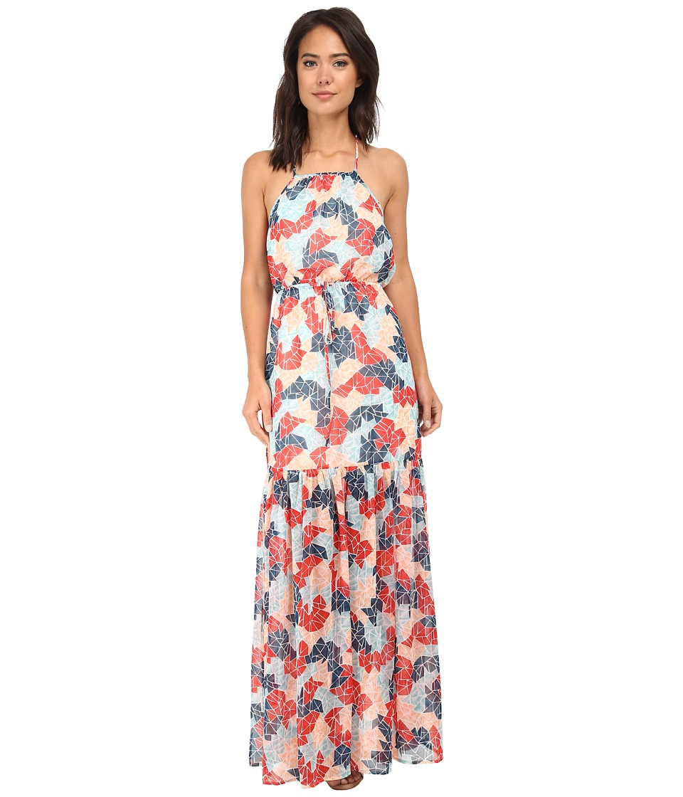 BCBGeneration - Blouson Maxi Dress (Sea Coral Combo) Women's Dress