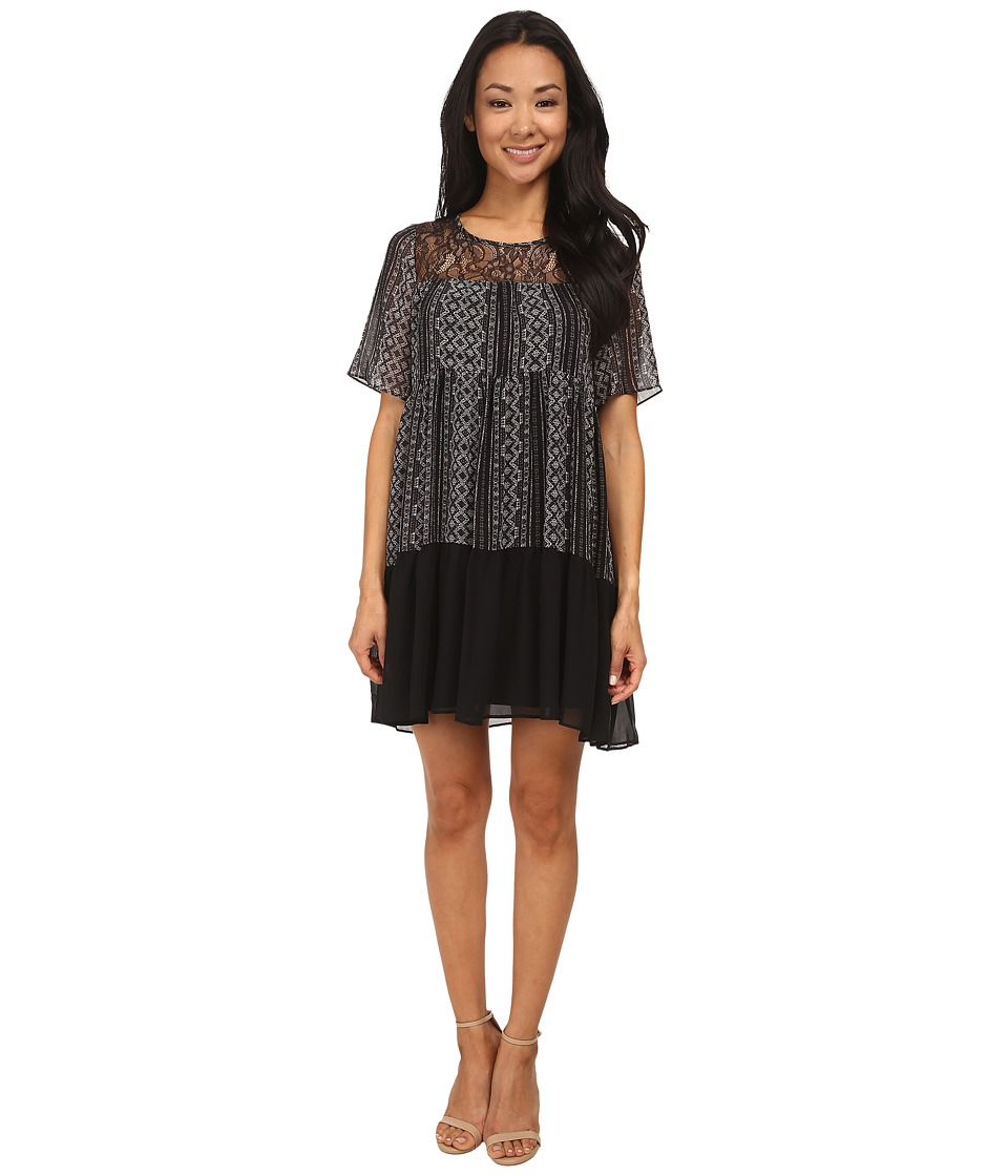 BCBGeneration Yoke Dress w/ Lace (Black Combo) Women
