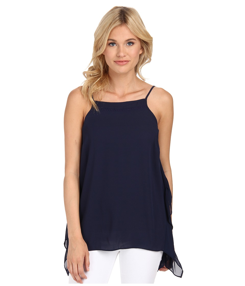 BCBGeneration - Side Ruffle Tank Top (Deep Blue) Women's Sleeveless