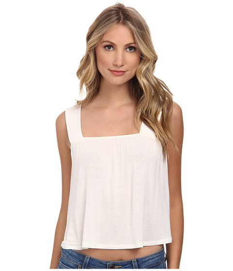 BCBGeneration - Cropped Flare Top (Whisper White) Women's Clothing