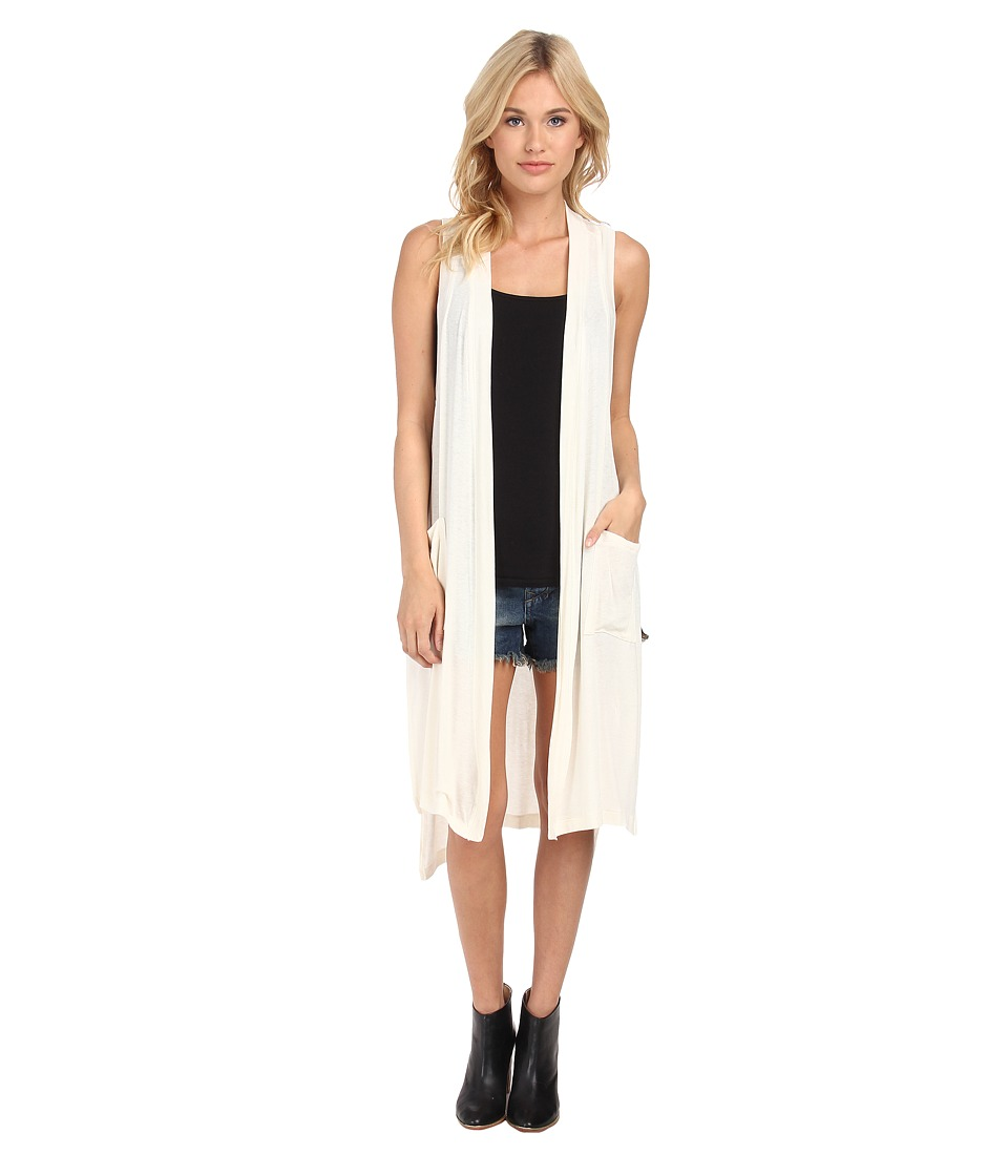 BCBGeneration - Long Sheer Knit Vest (Whisper White) Women's Vest