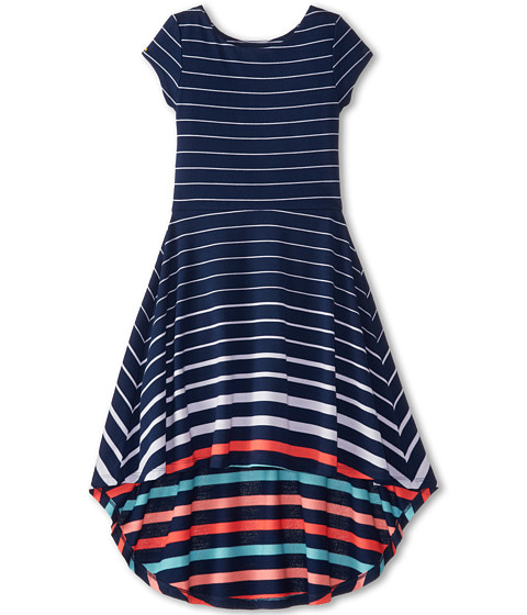 Tommy Hilfiger Kids - Striped Hi-Low Dress (Big Kids) (Med Navy) Girl's Dress