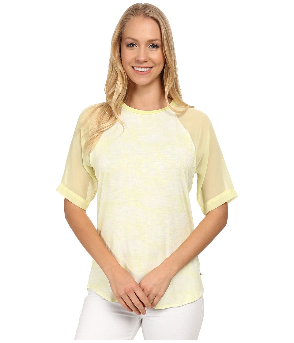 Calvin Klein Jeans - Printed Curved Hem Woven Sleeve Tee (Citrus Tint) Women