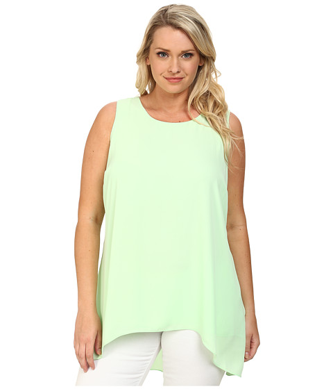 Vince Camuto Plus - Plus Size Sleeveless High-Low Hem Blouse (Reef Green) Women