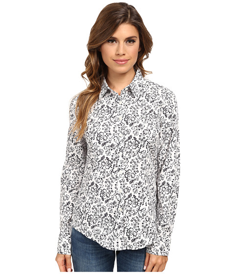 Dockers Misses - The Tailored Stretch Shirt (Juliette Floral/Paper White) Women's Long Sleeve Button Up