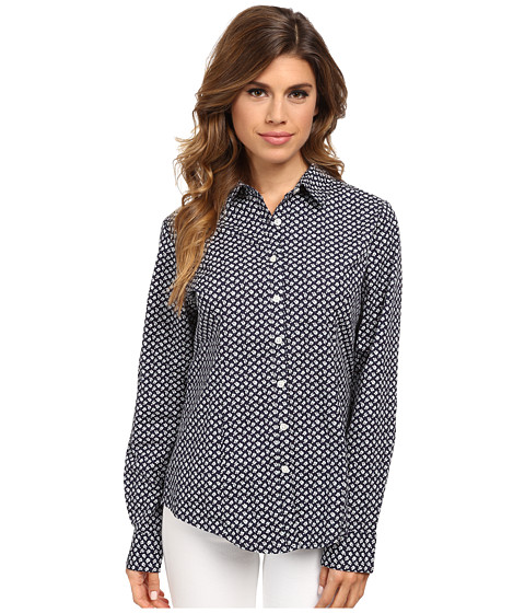 Dockers Misses - The Tailored Stretch Shirt (Allie Floral/Sea Captain Blue) Women's Long Sleeve Button Up