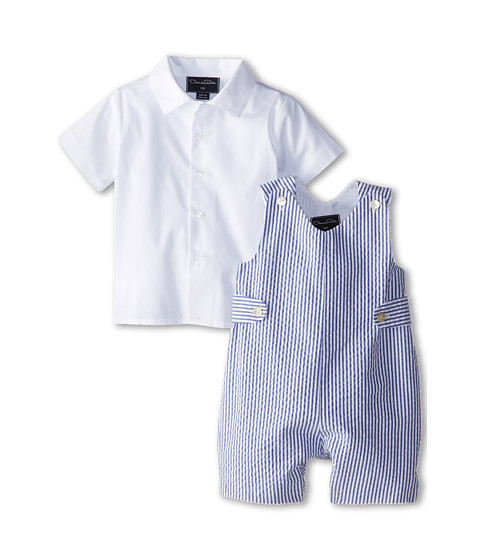 Oscar de la Renta Childrenswear - Seersucker Romper (Infant) (Navy) Boy