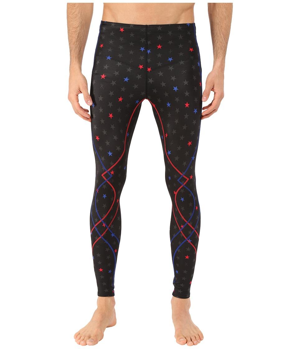 CW-X - Stabilyx Tights Print (Black/Star Print/Red Blue) Men's Workout