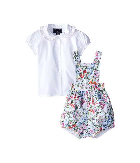 Oscar de la Renta Childrenswear - English Garden Cotton Bloomer w/ Blouse (Infant) (Ice) Girl's Active Sets