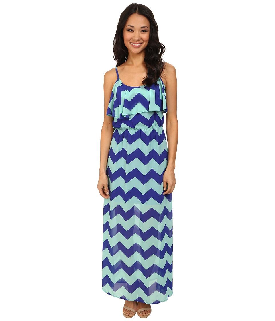 Gabriella Rocha Deon Chevron Maxi Dress (Cobalt/Seafoam) Women
