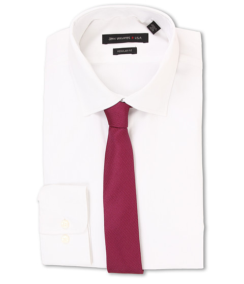 John Varvatos - Regular Fit Solid Dress Shirt (White) Men