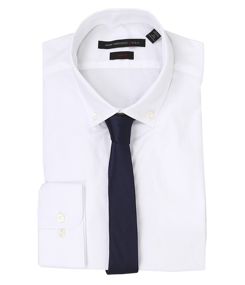 John Varvatos - Slim Fit Solid Dress Shirt (White) Men