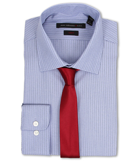 John Varvatos - Slim Fit Stripe Dress Shirt (Azure) Men