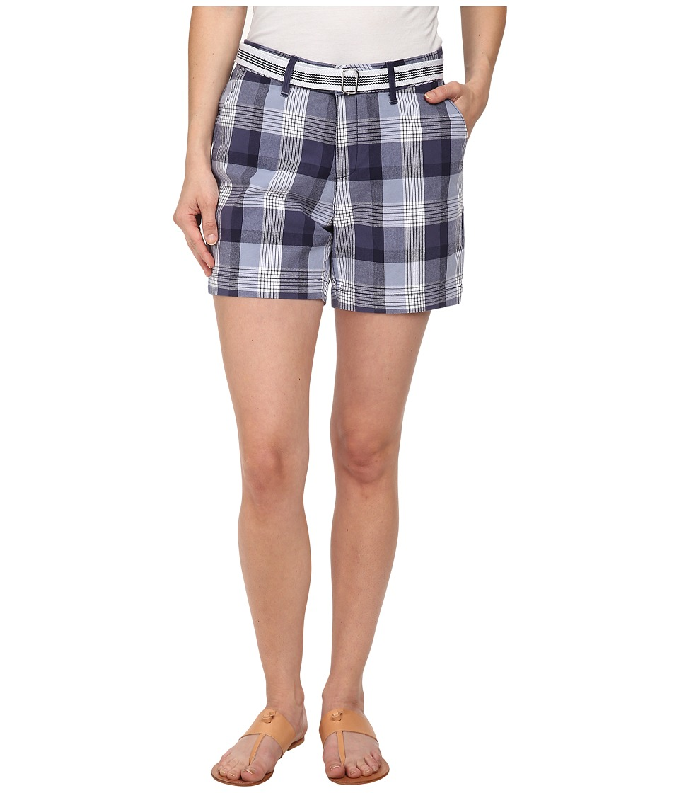 Dockers Petite - Petite The Essential Shorts (Gabriela Plaid/Carbon Blue) Women's Shorts