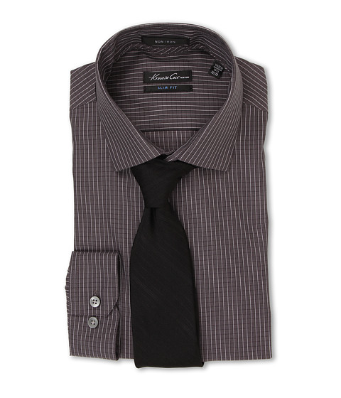 Kenneth Cole New York - Slim Fit Non-Iron Check (Carbon) Men