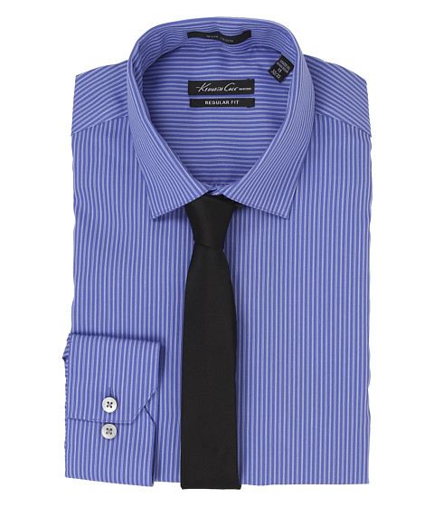 Kenneth Cole New York - Regular Fit Non-Iron Stripe (English Blue) Men's Long Sleeve Button Up