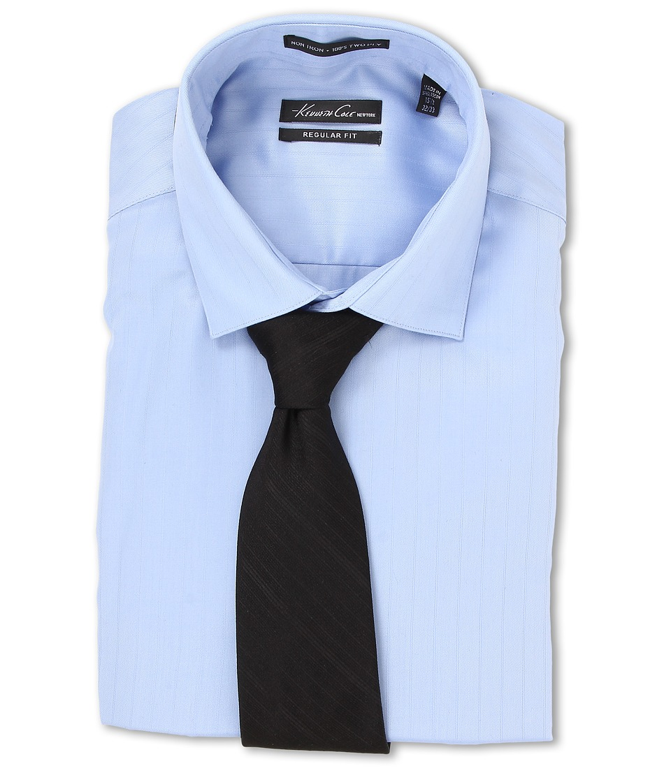 Kenneth Cole New York - Non-Iron Regular Fit Textured Stripe L/S Dress Shirt (Sky Blue) Men