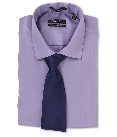 Kenneth Cole New York - Non-Iron Regular Fit Textured Stripe L/S Dress Shirt (Light Purple) Men's Long Sleeve Button Up