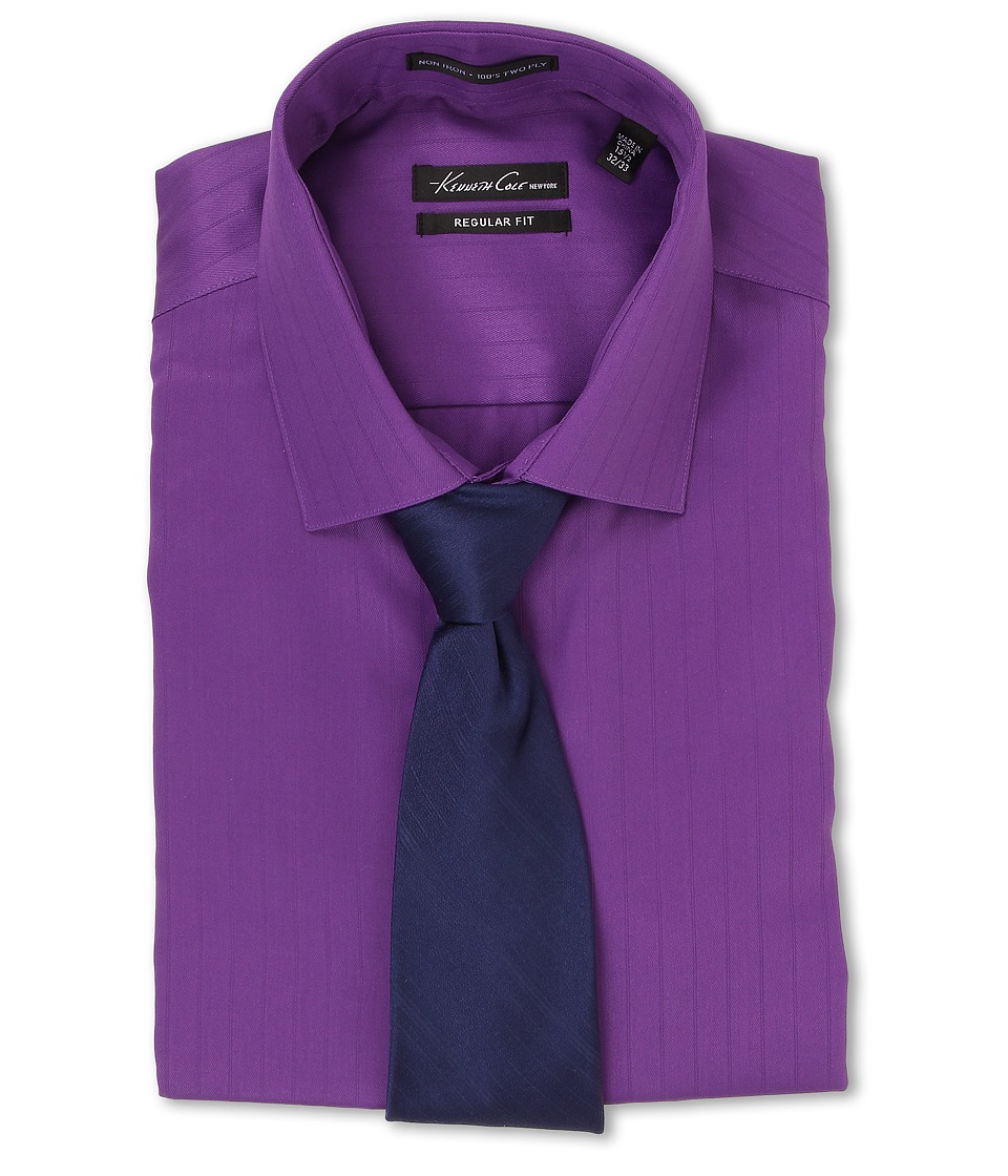 Kenneth Cole New York - Non-Iron Regular Fit Textured Stripe L/S Dress Shirt (Viola) Men's Long Sleeve Button Up