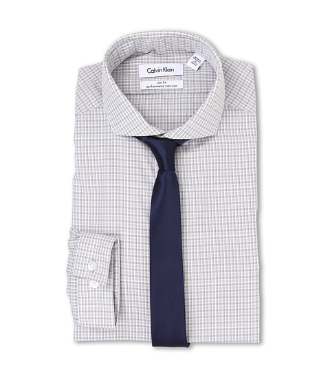 Calvin Klein - Slim Fit Non Iron Check (Greystone) Men's Clothing