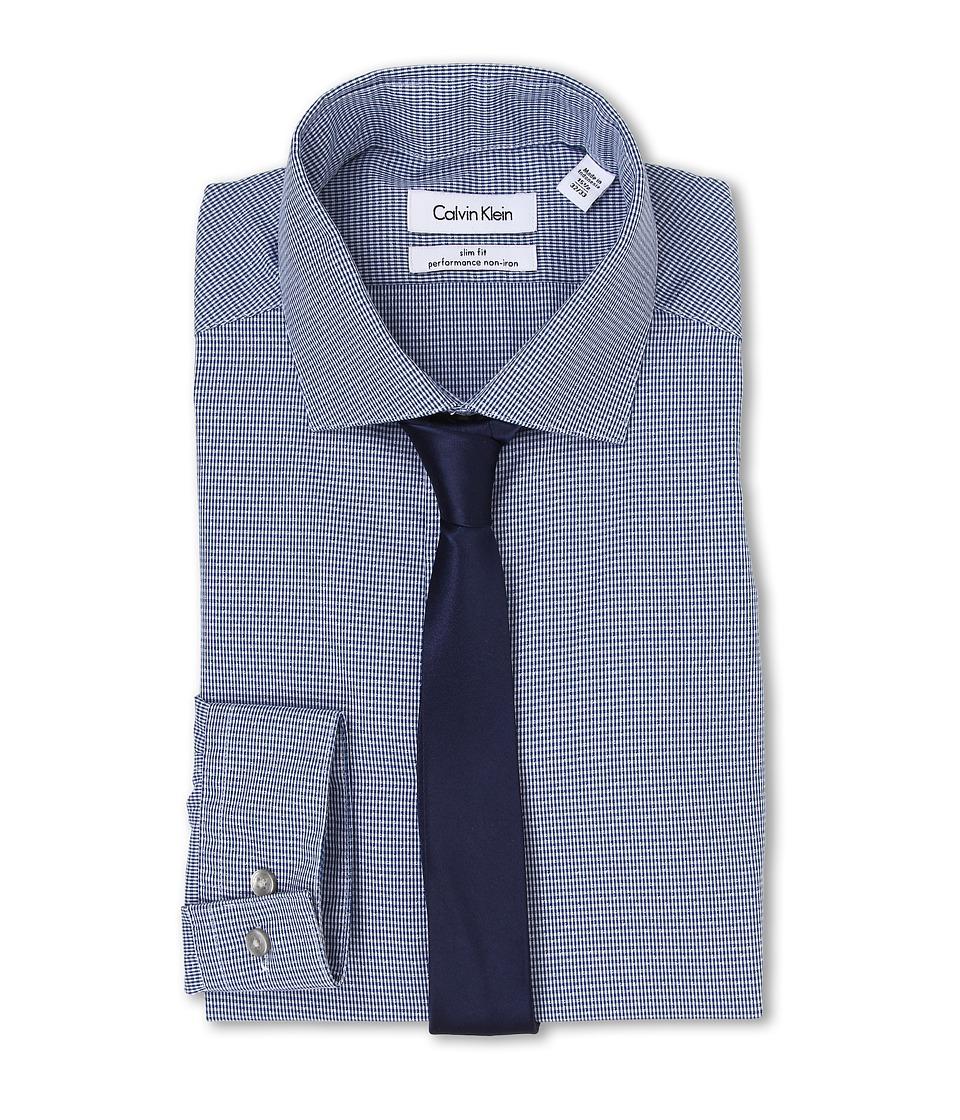 Calvin Klein - Slim Fit Non Iron Plaid (Empire Blue) Men