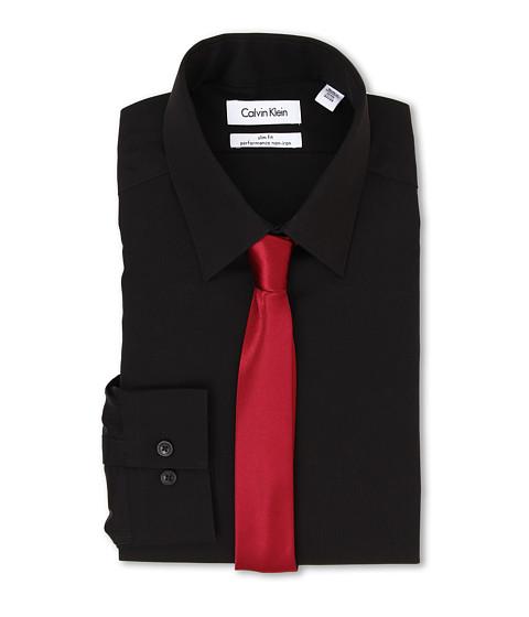 Calvin Klein - Slim Fit Non Iron Herringbone Solid (Black) Men