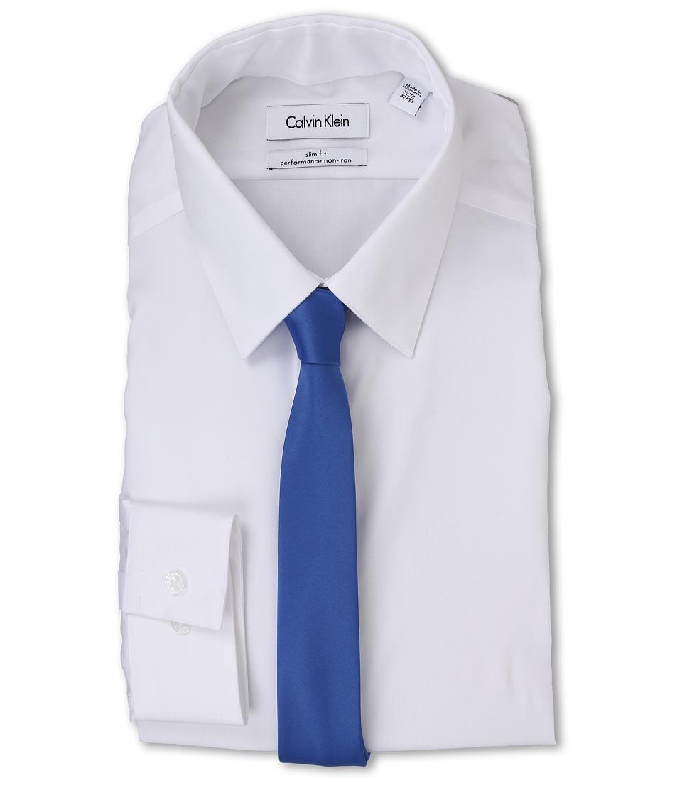 Calvin Klein - Slim Fit Non Iron Herringbone Solid (White) Men's Clothing