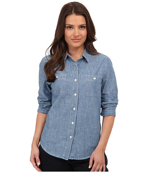 Dockers Petite - Petite Spring Chambray Shirt (Medium Wash) Women's Long Sleeve Button Up