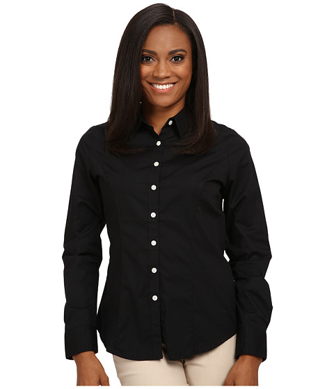 Dockers Petite - Petite The Tailored Stretch Shirt (Black) Women