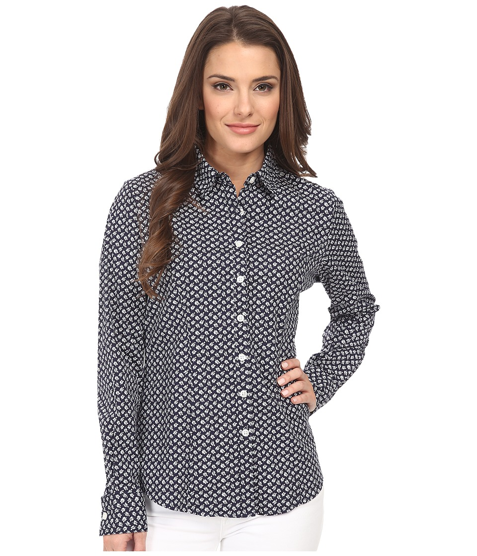 Dockers Petite - Petite The Tailored Stretch Shirt (Allie Floral/Sea Captain Blue) Women