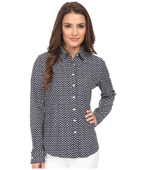Dockers Petite - Petite The Tailored Stretch Shirt (Allie Floral/Sea Captain Blue) Women