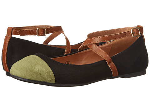 C Label - Lora-22 (Black/Light Olive) Women's Flat Shoes