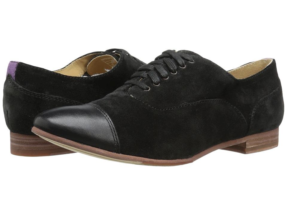 Sebago - Hutton Cap Toe (Black Suede) Women's Lace Up Cap Toe Shoes