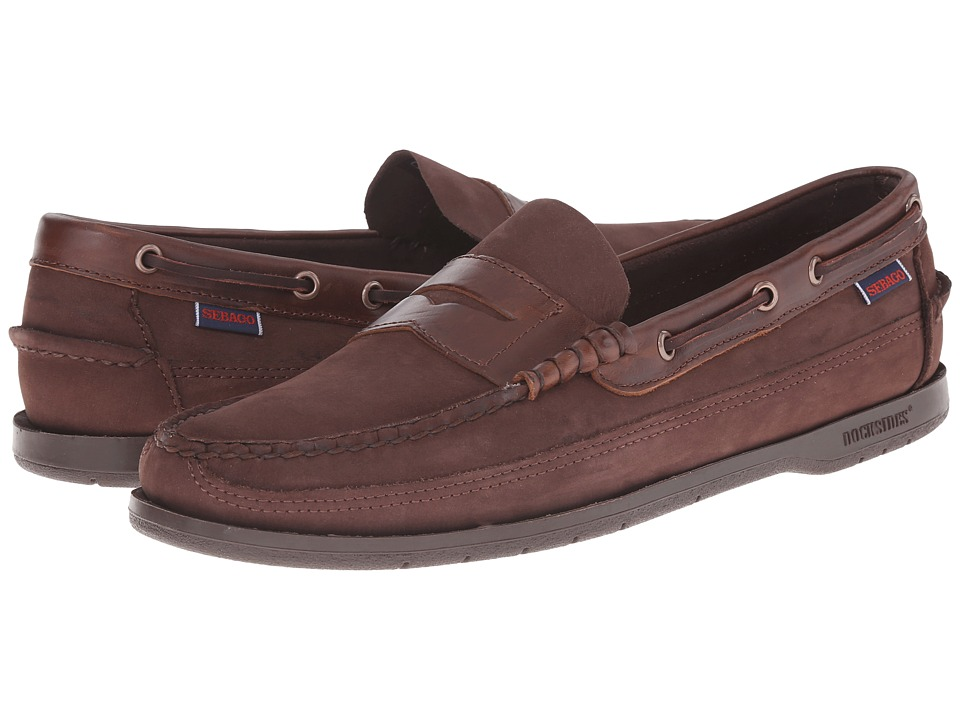 Sebago - Sloop (Dark Brown Nubuck) Men's Slip on Shoes