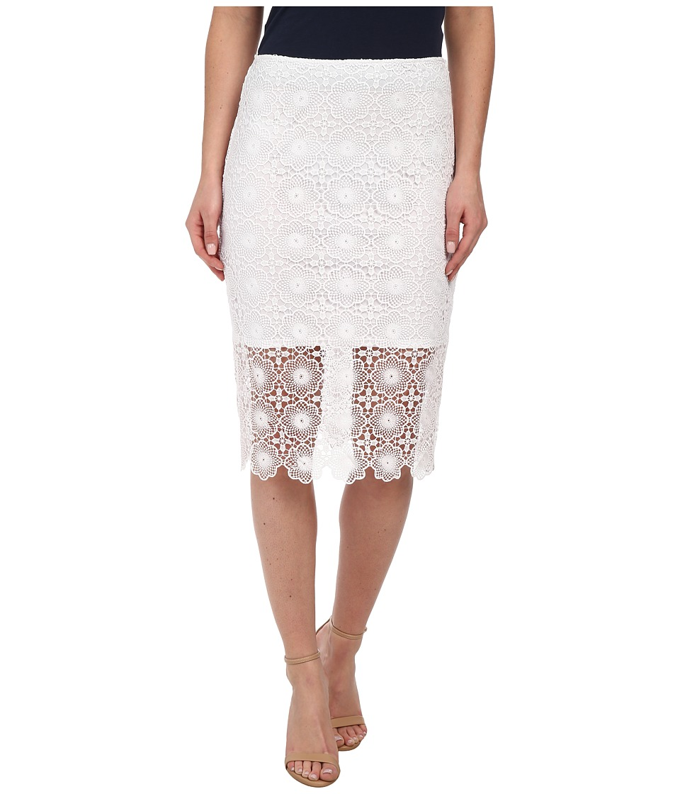 kensie - Open Floral Lace Skirt KS4K6217 (White) Women's Skirt