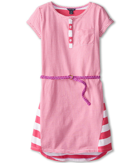 Tommy Hilfiger Kids - Jersey Twin Stripe Dress (Big Kids) (Lollipop Pink) Girl