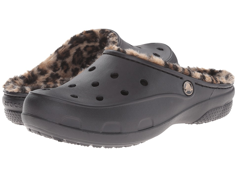 Crocs - Freesail Loeopard Lined Clog (Black/Gold) Women's Shoes