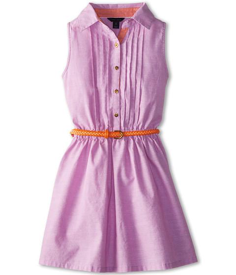 Tommy Hilfiger Kids - Belted Chambray Shirt Dress (Big Kids) (Purple Cactus) Girl's Dress