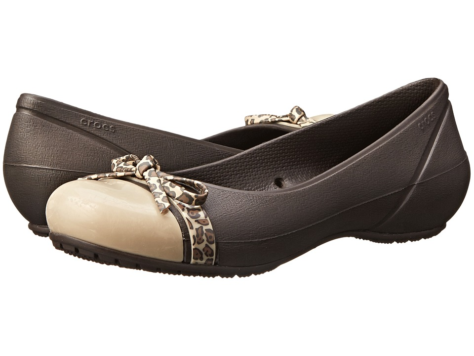 Crocs - Cap Toe Bow Flat (Espresso/Gold) Women's Flat Shoes