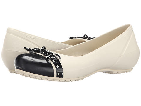 Crocs - Cap Toe Bow Flat (Stucco/Black) Women's Flat Shoes