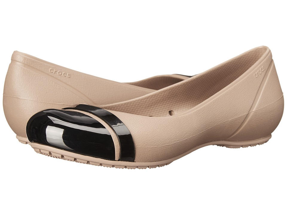Crocs - Cap Toe Flat (Latte/Black) Women's Flat Shoes
