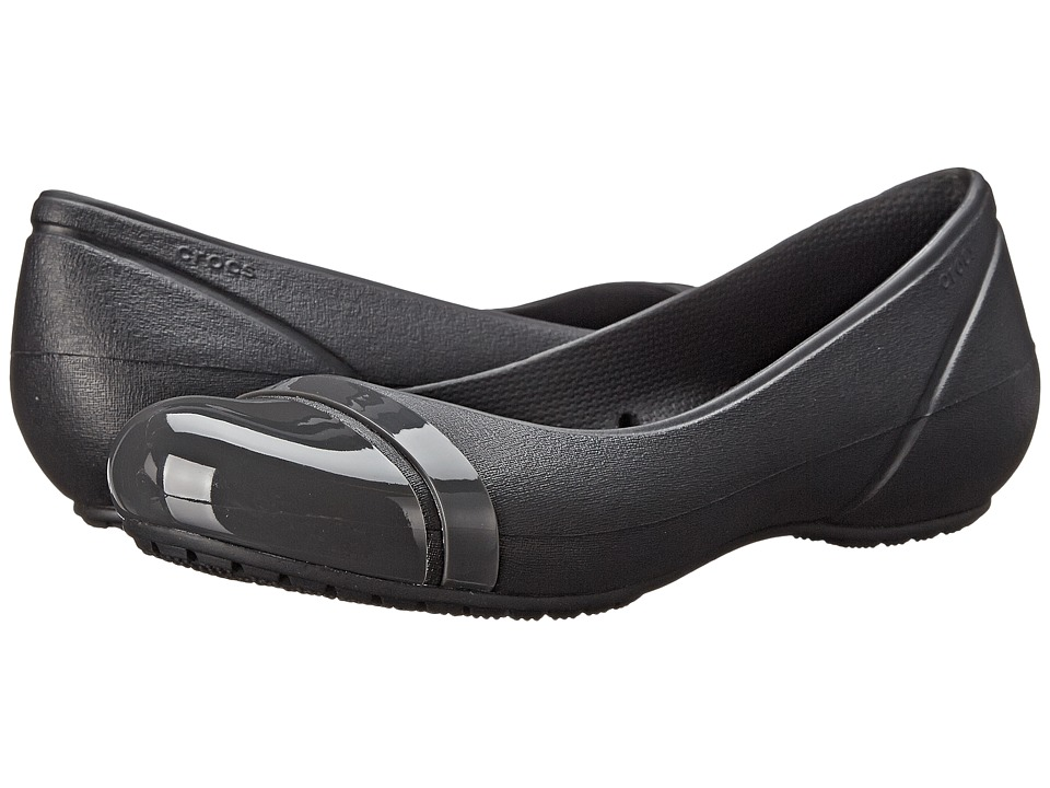 Crocs - Cap Toe Flat (Black/Graphite) Women's Flat Shoes