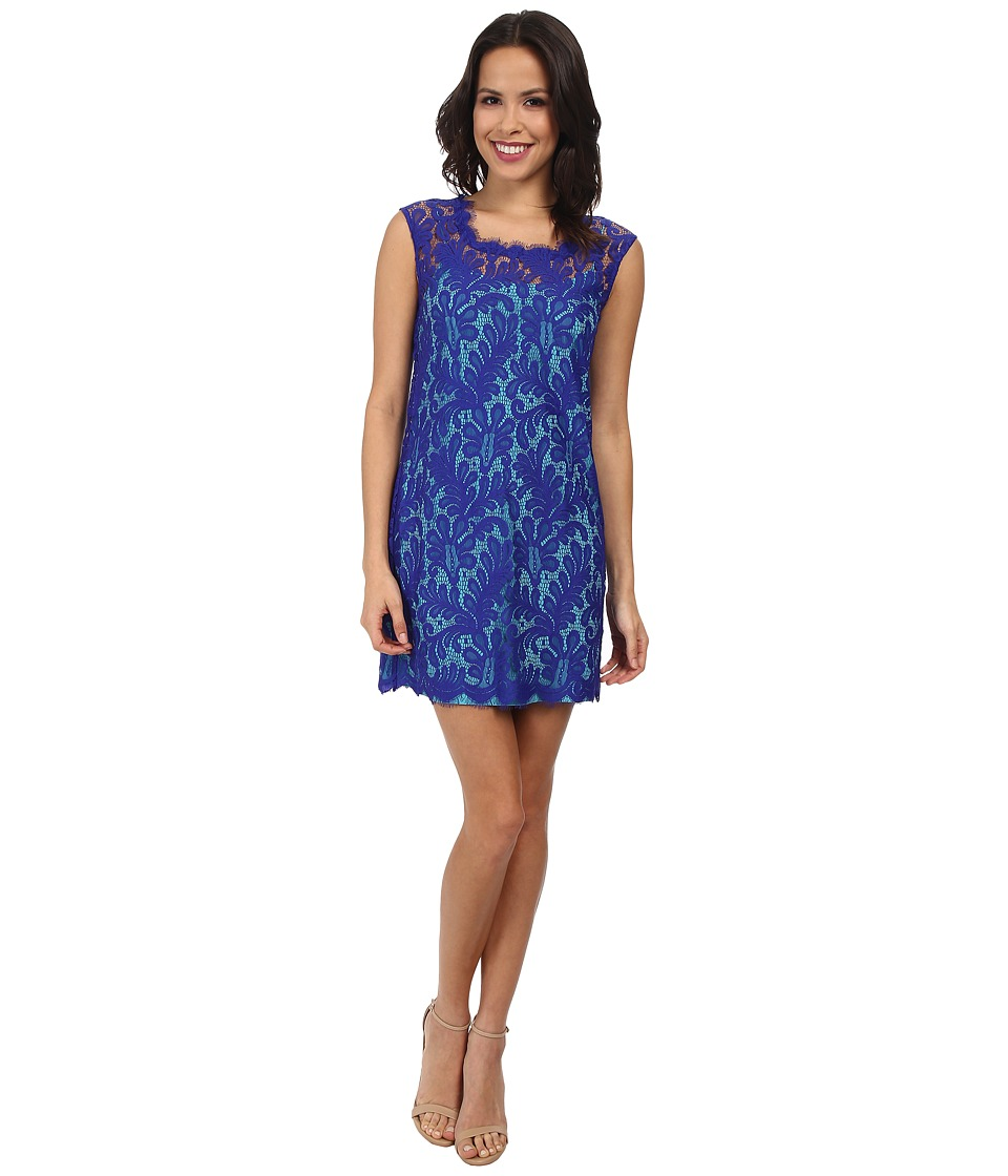 Nicole Miller - Paisley Poppy Shift Dress (Blue/Turquoise) Women's Dress