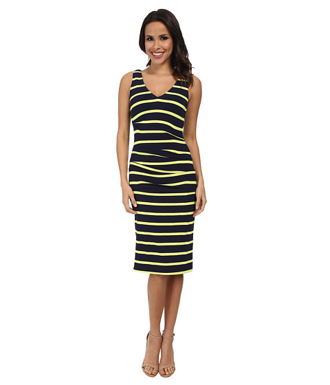 Nicole Miller - Wren Club Stripe Jersey Tuck Dress (Navy/Citronelle) Women