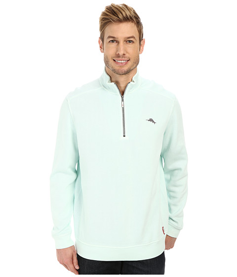 Tommy Bahama - Antigua Half Zip Sweatshirt (Ice Turquoise) Men