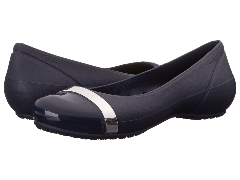 Crocs - Cap Toe Mirror Band Flat (Navy/Navy) Women's Flat Shoes