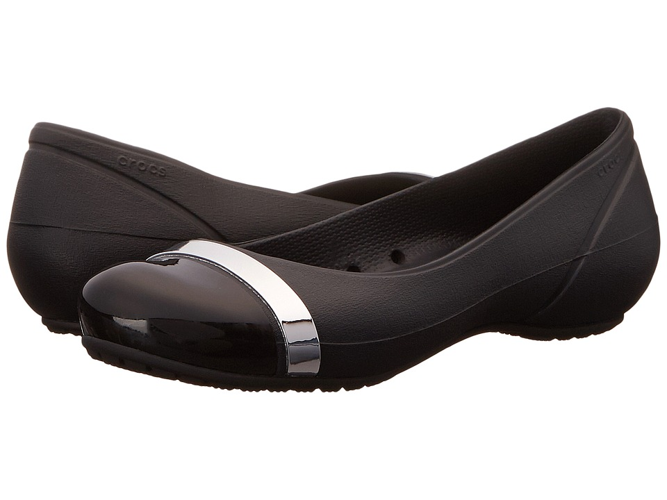Crocs - Cap Toe Mirror Band Flat (Black/Black) Women