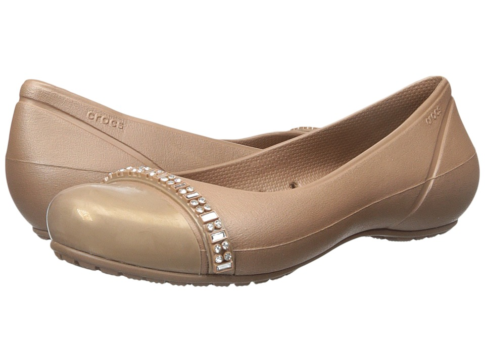 Crocs - Cap Toe Rhinestone Band Flat (Bronze/Bronze) Women's Flat Shoes