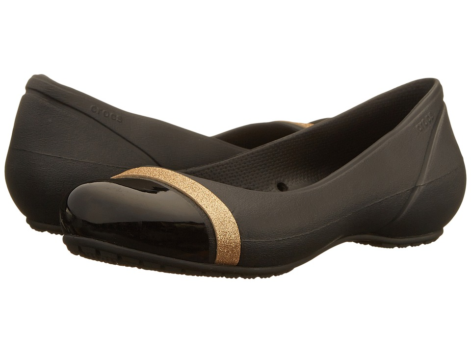 Crocs - Cap Toe Shimmer Band Flat (Black/Black) Women's Flat Shoes